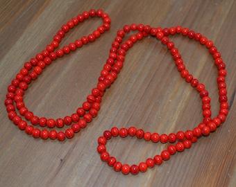 Amazing antique 20s art deco coral red gatsby flapper czech glass necklace / JTESGI