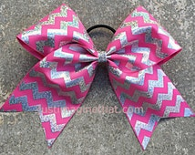 "3"" Width Cheer Bow 7""x7"" Texas Size Cheer Bow Hot Pink and Silver Hologram Chevron"