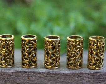 6 Tibetan Style Antique Golden Dreadlock Beads 8mm Hole (5/16 Inch)