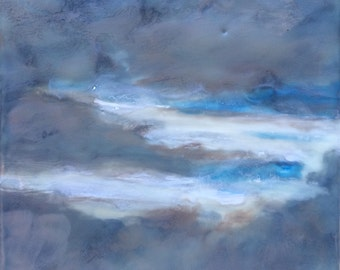 cloudy - 6x6 - original encaustic painting - peaceful, impressionist, landscape, seascape