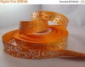 orange swirl ribbon, 7/8 inch Ribbon, foil ribbon, grosgrain ribbon, craft supplies, silver, Filler ribbon,  RN14726