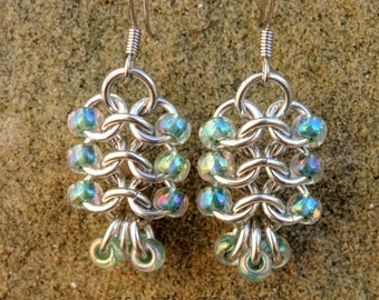 Chainmaille Ladder Earrings - beaded chainmaille - euro 4-1 chainmaille