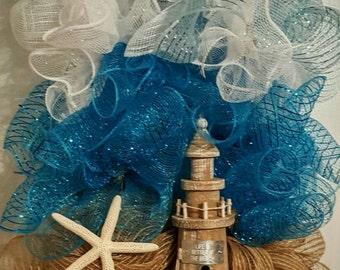 Lighthouse Wreath Lighthouse Door Wreath Beach Wreath Beach Summer Door Wreath & Lighthouse wreath | Etsy Pezcame.Com