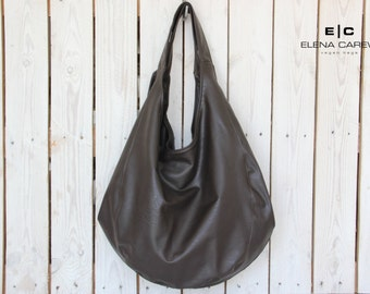 Large hobo bag, Brown leather tote, Brown vegan tote, Shoulder bag and purse, hobo bag purse, Big tote bag, Vegan hobo bag