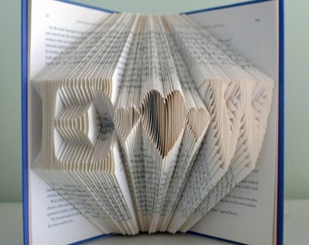 Folded Book Art - Monogrammed Gift -  Initials With 3 Hearts - Unique Wedding Present - First Paper Anniversary Gift -  Boyfriend Girlfriend