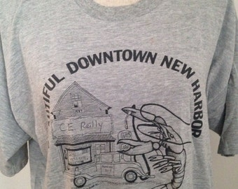 Vintage 80s Downtown New Harbor Maine Tshirt