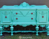 On Hold for Z! Turquoise Antique Buffet