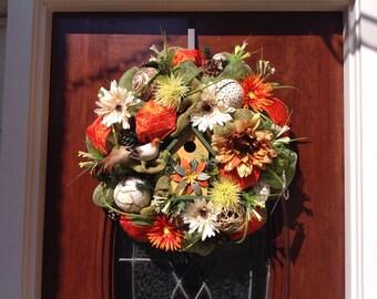 Birdhouse a burlap and Mesh Wreath