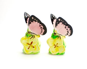 Vintage Anthropomorphic Butterfly Salt Pepper Shakers, Butterflies on Flowers Ceramic  Flower Shakers, Spring, Pink Butterflies, Epsteam