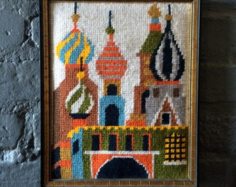 Framed Russian Church Dome Needlepoint