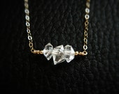 Diamond Necklace, Herkimer Necklace, Crystal Necklace, Herkimer Diamond, Diamond Pendant Necklace, Diamond Necklaces, Gold Necklaces