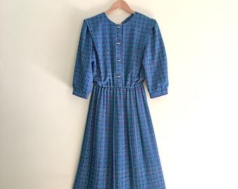 Vintage Purple & Teal Geo Print Pleated Dress / Deco Secretary Dress // Union Made // USA 1980s