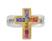 Valentines Day Sale Multicolor Rainbow Sapphire Crucifix Rings 18K GP and 925 Sterling Silver  : sku 1188-925