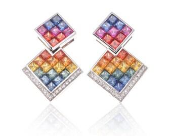 Multicolor Rainbow Sapphire Double Square & Diamond 18K Gold Earrings (4.40ct tw): SKU 25151