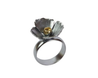 Oxidized sterling silver poppy ring - small flower