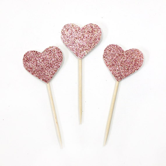 Heart Cupcake Toppers - Blush Pink Glitter. Bachelorette Party. Engagement Party Decor. First Birthday. Cupcake Topper. Donut Topper.