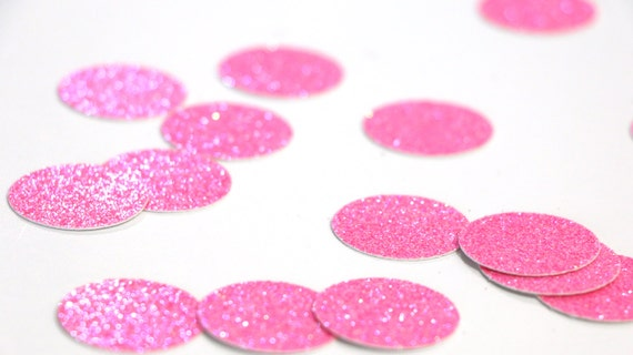 """Neon Pink Glitter Circle Confetti - 1""""  Pink Confetti. Wedding. Bachelorette Party. Bridal Shower. Baby Shower. Engagement. First Birthday."""
