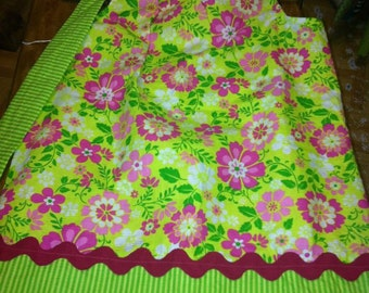 Lime and Pink Flowers Pillowcase Dress - Size 2 - Ready to ship