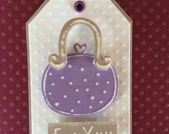 Handmade, embossed Tag/gift tag size 2 X 3