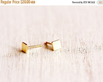SALE Valentines day gold post earrings, tiny gold stud earrings- 24 K gold plated square studs