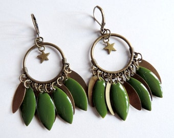 Earrings - Together (olive)