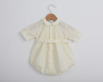 Vintage Jon Jon Sun Suit Romper in Pastel Yellow / 1960s / 6 to 12 months