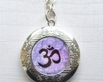 Om Necklace, Photo Locket, Yoga Jewelry, Om Jewelry