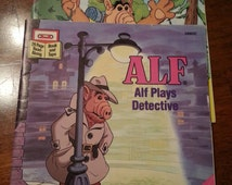 Set of two vintage Alf books, Book on tape- no tapes. Alf Plays Detective & Alf Goes Wild
