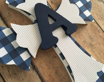 Boys Baptism Gift, Boys First Communion Gift, Boys Cross, Boys Religious Gift, Personalized Gift, Navy and Grey