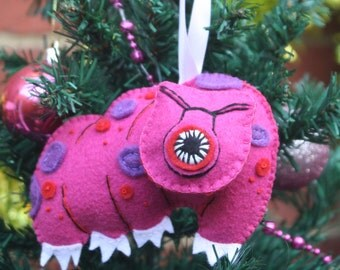 Hand Embroidered Tardigrade Felt Plushie Ornament ~ Made To Order