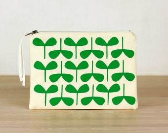 Emerald Seedlings flat zip pouch off white- screen printed and handmade