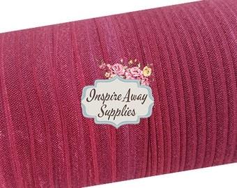 """Burgundy 5/8"""" fold over elastic, shiny elastic, elastic by the yard, FOE elastic, diy headband supply. elastic for baby headband"""