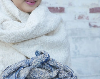 Organic natural white cotton shawl/wrap (large sized hand-spun yarn)