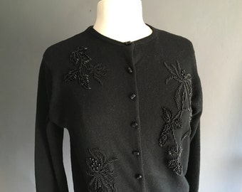 1950s Beaded Wool Cardigan