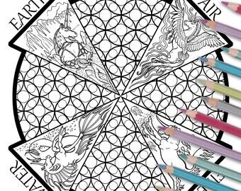 Unicorn Adult Coloring Page, Four Elements Mandala, Relaxation, Meditation