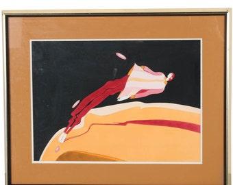 John Luke Eastman Signed Lithograph, Gouache Collectible 1970's Graphic Artwork