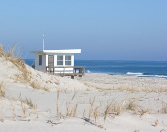 "Lifeguard Tower Beach Photography - Ocean Wall Art in blue and beige - ""Lifeguard Tower #1"" - Jersey Shore Coastal Decor - Nautical Wall Art"