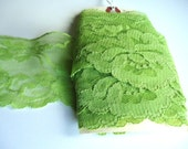 """More Than 3 Yards of Vintage Green Wide Floral Lace Trim 7/8"""" Wide Non-Stretch"""