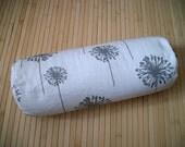 "Bolster Pillow. Neck Roll. Light Gray Dandelion on White Pillowcase, and Buckwheat filled insert.  Zippered. 15"" x 5"".  Handmade USA"