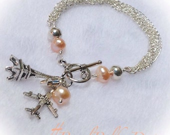Charm Bracelet Eiffle Tower Air Plane Multi Chain Pearl Silver Toggle Jewelry