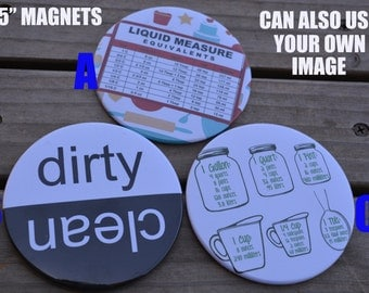 """3.5"""" MAGNETS--Clean/Dirty dishwasher magnet, and MEASUREMENT conversion fridge magnets.  Great party favor, wedding, house warming gift"""