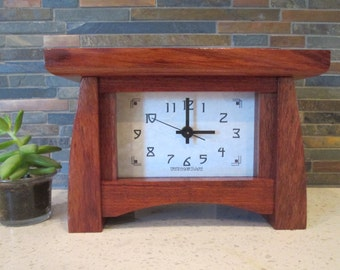 Mantel Clock, Brazilian Cherry Clock, Bungalow Clock, Craftsman Clock, Jatoba, Mantle Clock, Desk Clock
