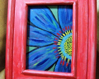 Acrylic Blue and Red Flower Painting