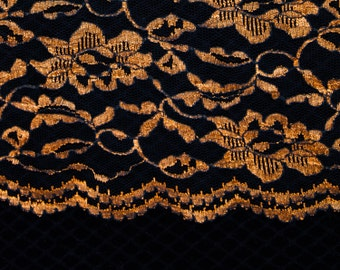 """4 Yards of 45"""" Fabulous Vintage Lace Fabric. Coppery Gold. Beautiful Floral Design. Scalloped Edges on Both Sides. Sewing, Bridal. Item 3882"""