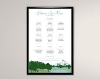 Seating Chart DIY Printable Custom Wedding Reception or Rehearsal Dinner Mt Jefferson (frame not included)