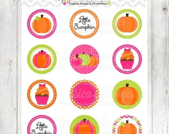 80% OFF - INSTANT DOWNLOAD, Printable Pumpkin Circles for Girls, pumpkin patch party, cupcake toppers, printable circles, fall party