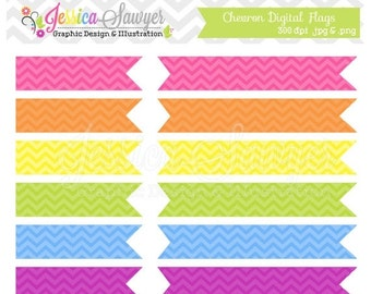 80% OFF - INSTANT DOWNLOAD,  Chevron Digital Flags Clipart Clip Art Commercial Use Personal Use Digital Scrapbooking Invitation Design