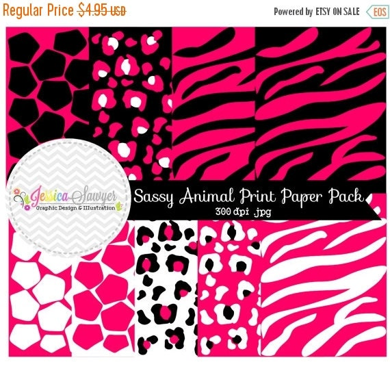 80% OFF - INSTANT DOWNLOAD,  pink animal print digital paper, safari background, commercial use for invitations, party supply, more