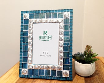 4 x 6 Picture Frame / Teal Mosaic Photo Frame / Gift Idea / Handmade Home Decor