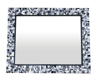 Black White Gray Mosaic Wall Mirror